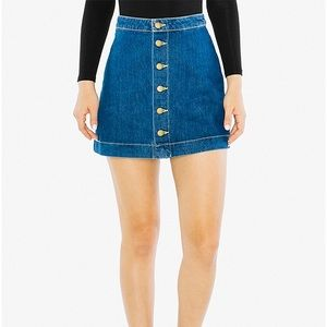 American Apparel Button Front A-Line Denim Mini